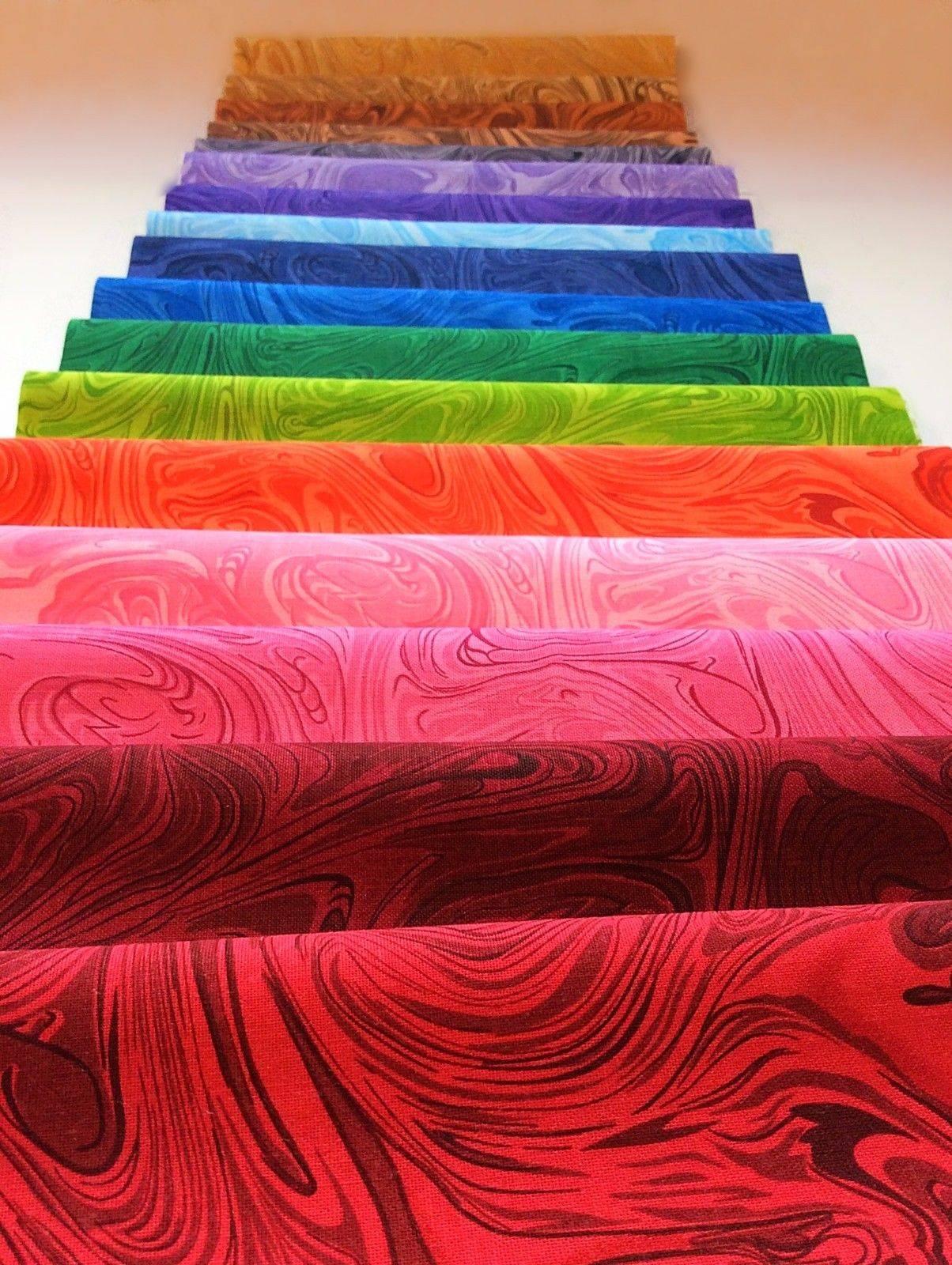 34 Swirls Rainbow Pattern Pre Cut Layer Cake 10 Inch Quilt