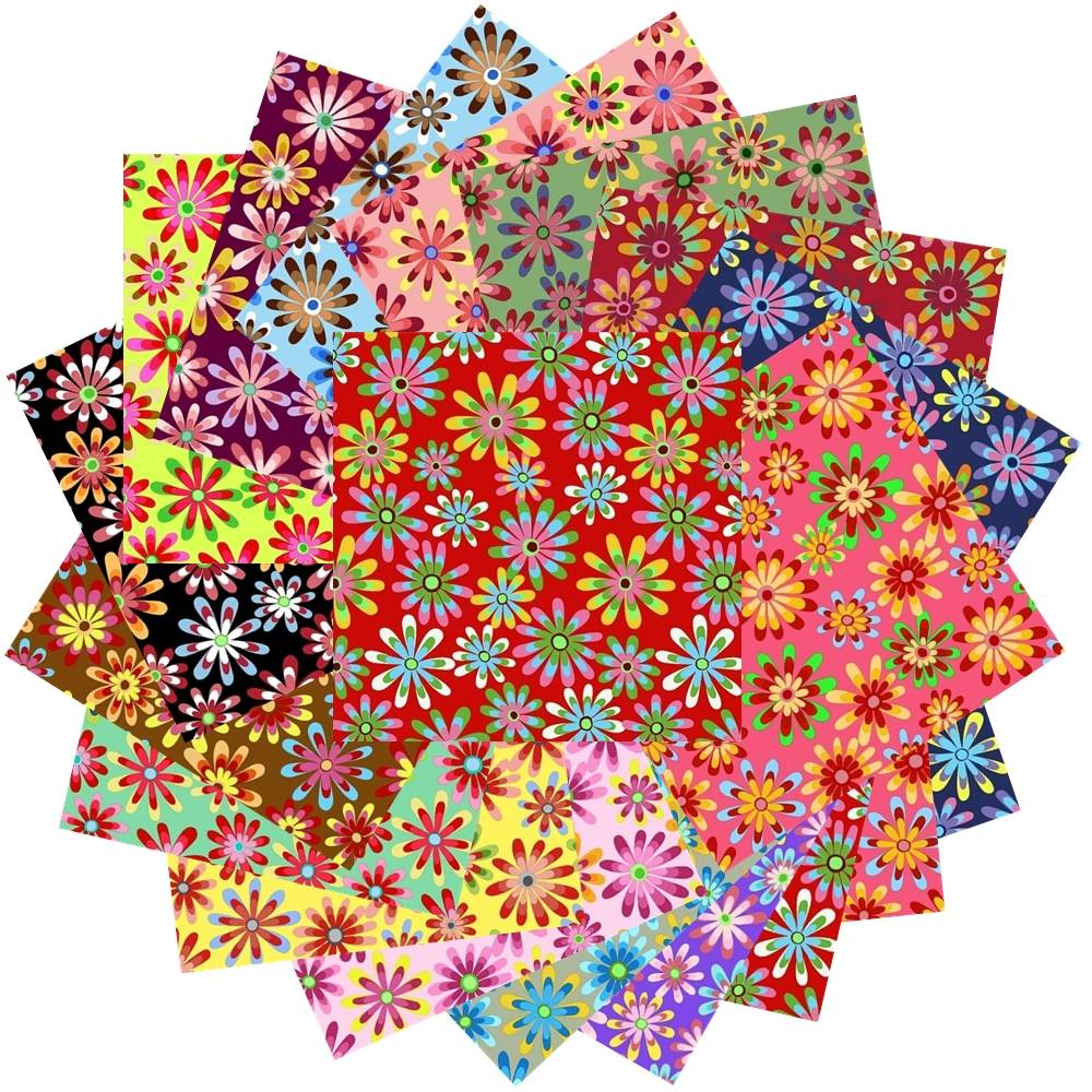 102 CRAZY DAISY Pattern Pre-Cut Charm pack 5 x 5 Inches Quilt ... : crazy quilt fabric packs - Adamdwight.com