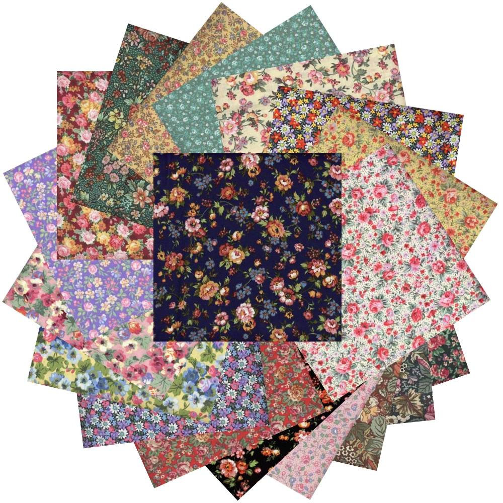 "</br>10"" Inch Colorful Vintage Bouquet Layer Cake -</br></br>28  Pre-Cut Quilt Squares Fabric"