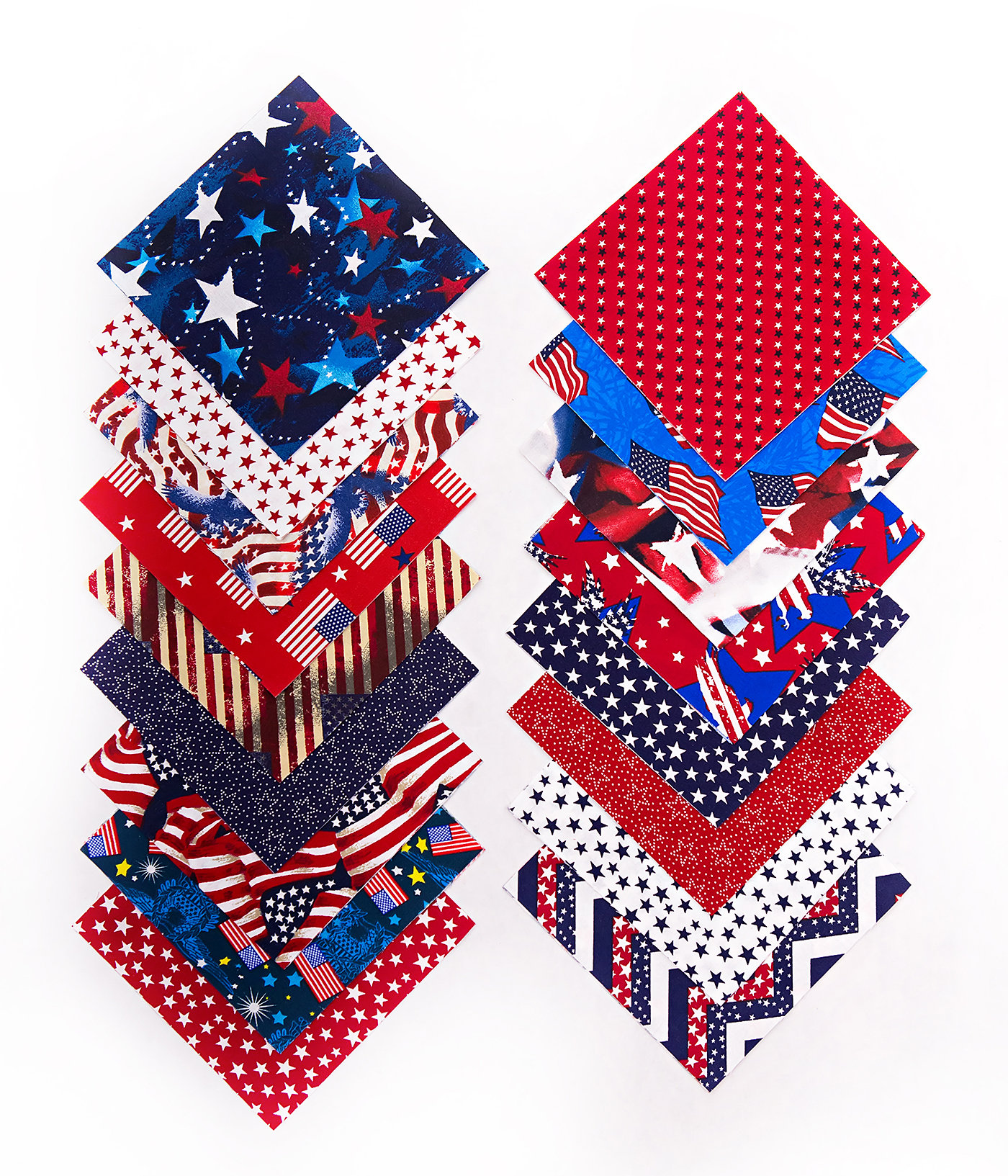 96pc STARS and STRIPES Patriotic Pre-Cut Charm pack 5 x 5 Inch Quilt Fabric Squares