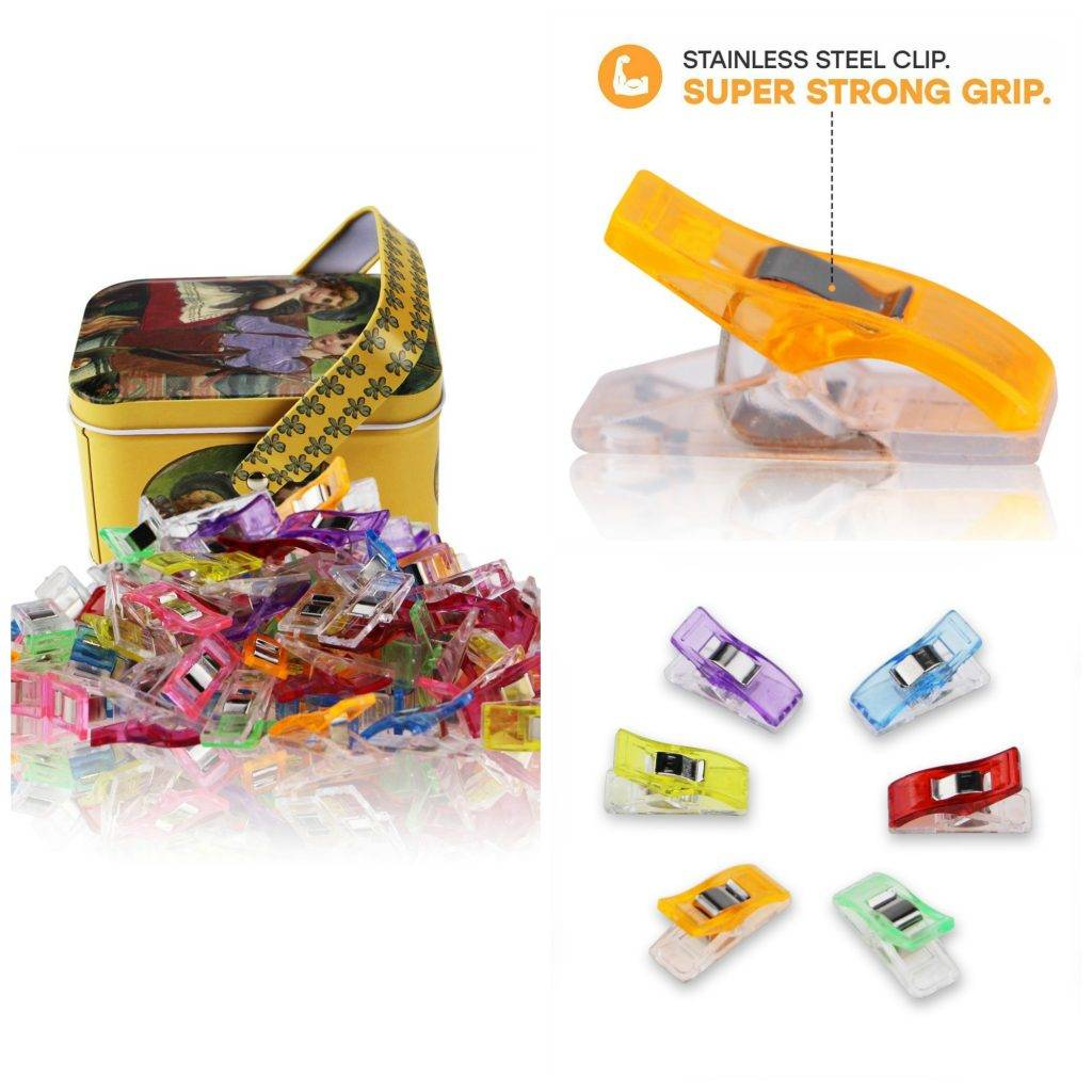Multipurpose Sewing Clips with Tin Box Package, Assorted Colors, (Pack of 100)