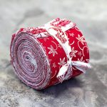 <center>TWO (2) ROLLS - BUNDLE </center></br>2.5 x 40 inch RED & WHITE AFFAIR Jelly Roll fabric quilting strips - 2 Rolls </br>