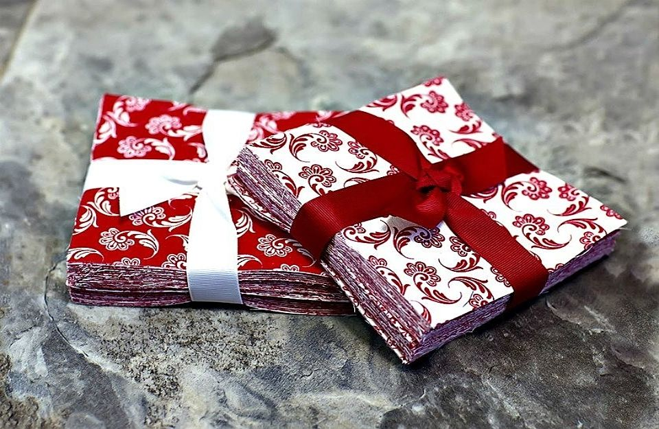 "</br>5"" x 5""  RED & WHITE AFFAIR  </br>Charm Packs</br></br>96 Pre-Cut Quilting Squares  </br>"