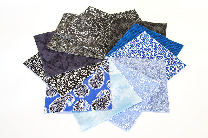 96pcs of BLUE and BLACK MEDLEY Pre-Cut Charm pack - 5 x 5 Inches Quilt Fabric Squares